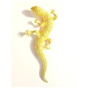 "Vintage Gold Tone Lizard Brooch, 3.75"" Long"